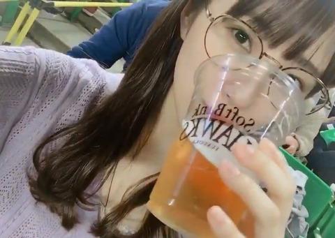 【HKT48】植木南央「野球みながら飲むビールが美味しい!とよく聞くのでお姉ちゃんのビールひとくち貰った結果」