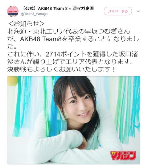 【チーム8】マガジン表紙争奪戦、早坂つむぎの卒業で坂口渚沙が繰り上げで予選突破!