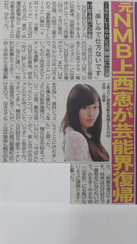 【朗報】元NMB48上西恵が舞台に出演!芸能界復帰!