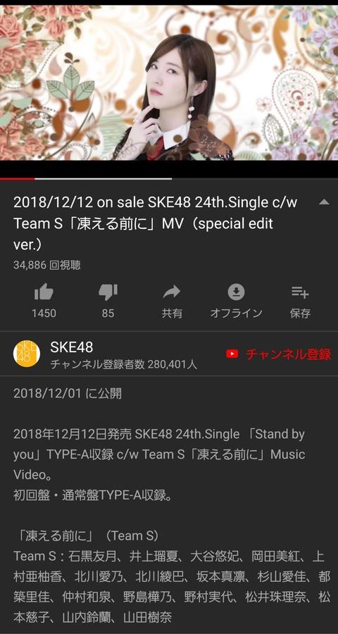 【悲報】SKE48松井珠理奈さんセンター曲「凍える前に」のMV再生数が公開10日間でわずか3万回の大爆死・・・