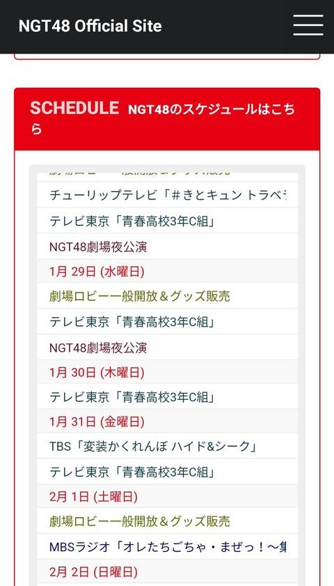 【NGT48】公式サイトのスケジュールに今まで載ってた中井りかのソロ仕事が2月から消えてると話題に