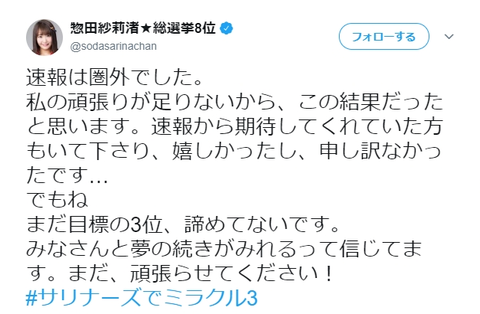 【Twitter】速報圏外だった「惣田紗莉渚☆総選挙8位」の総選挙後の名前を予想するスレ