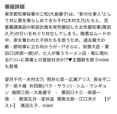 【朗報】大島優子出演、ドラマ「七人の秘書」がまたもや高視聴率を記録!