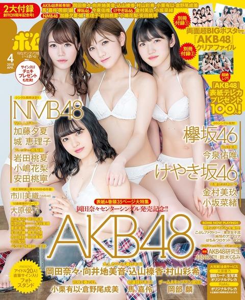 【AKB48】BOMBの表紙に村山彩希、岡田奈々、向井地美音、込山榛香キタ━━(゚∀゚)━━!!