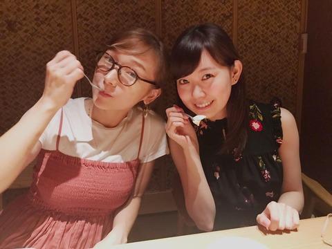 【画像】みるきー、やらかし大先輩の元モー娘。加護亜依と食事!!!【渡辺美優紀】