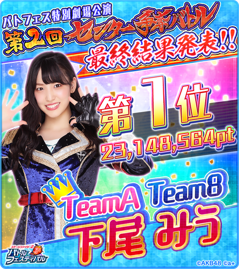【AKB48】バトフェス特別劇場公演「第2回センター争奪バトル」最終結果がこちら