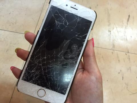 【悲報】なーにゃ、iphoneの画面がバキバキに割れてショックを受ける【AKB48・大和田南那】