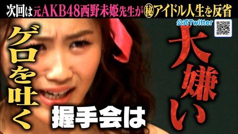 【しくじり先生】おぎゆかヲタが西野未姫に苦言「アイドル辞めて握手会嫌いだったと言うのはディズニー辞めたオッサンがミッキーの中暑くて最悪と言うのと同じ」【NGT48・荻野由佳】