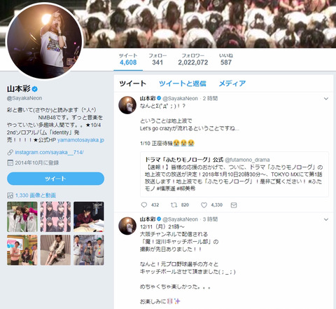 【Twitter】山本彩が指原莉乃を抜きフォロワー数現役AKB48Gメンバートップに!