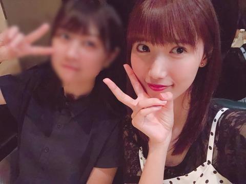 【HKT48】田中菜津美「若田部と秋吉ちゃんとご飯行ってきたよー。世界一薄いモザイクで若田部さんをどうぞ」