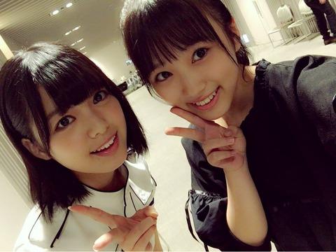 【HKT48】矢吹奈子ちゃん、同学年(中3)の欅坂46平手ちゃんとツーショットを撮る!