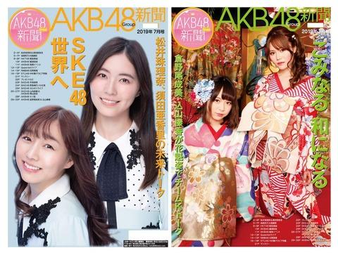 【超悲報】待ちに待ったSRイベントで1位になったSTU48中村舞ちゃんのグラビアが掲載されるAKB新聞の表紙がSKEの老害2人