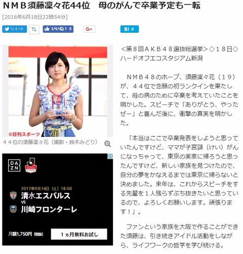 須藤凜々花「母親がパリピなんすよ!」あれ?子宮頸癌の設定は?