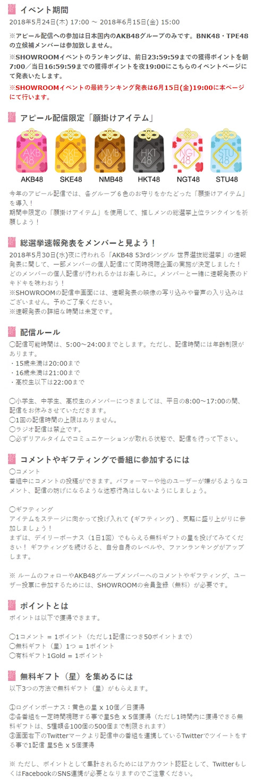 【AKB48総選挙】今年のSHOWROOMアピール配信イベントは課金アイテムありとか・・・