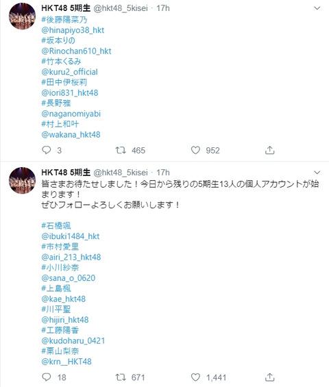 【朗報】HKT48・5期生の個人Twitter開始!!!