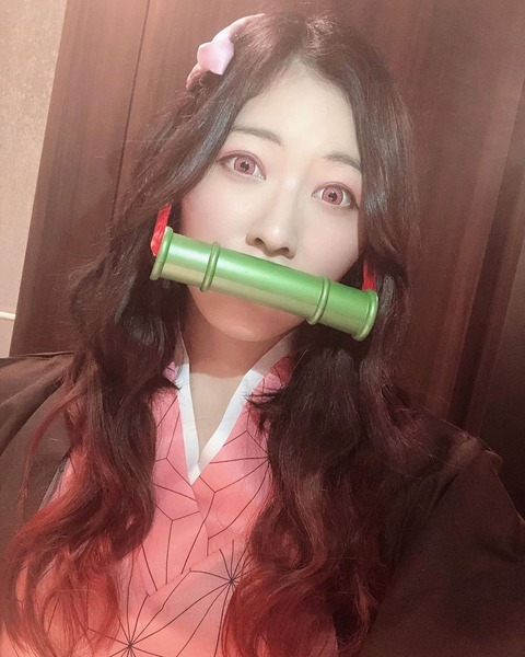 【SKE48】大人気世界チャンピオンの松井珠理奈さん、「鬼滅の刃」の禰豆子のコスプレを披露!!!
