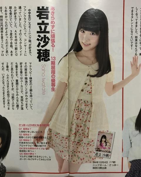 【AKB48】岩立沙穂ちゃん17歳(神奈川県出身、AKB13期生)