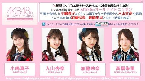 今夜の「AKB48のオールナイトニッポン」に小嶋真子、入山杏奈、加藤玲奈、高橋朱里の仲良し4人組が出演!