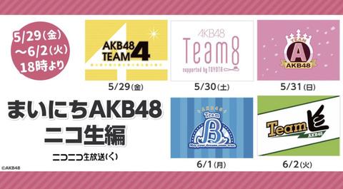 【朗報】AKB48「まいにちAKB48ニコ生編」放送決定!【5/29~6/2】