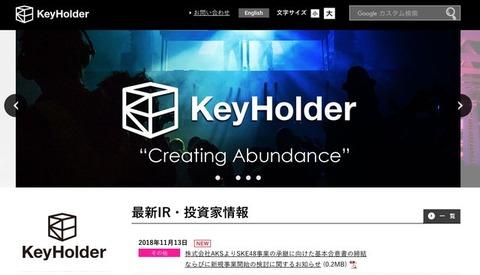 【速報】KeyHolder(キーホルダー)社、株式会社AKSからSKE48を「買収」