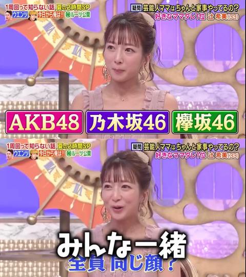 【悲報】辻希美「AKB48も乃木坂46も欅坂46も全員同じ顔、みんな一緒」