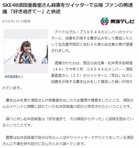 【SKE48】須田亜香里のTwitterに殺害を示唆する書き込みをしたヲタが逮捕