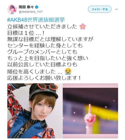 【AKB48総選挙】岡田奈々「目標は1位」