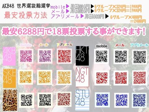【AKB48総選挙】最安6288円で18票投票することができます!