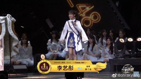 【SNH48総選挙】リーイートンが2連覇!規定により個人事務所を設立し卒業へ!