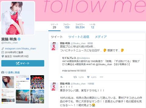 【HKT48】宮脇咲良のTwitterフォロワーが早くも10万人に迫る