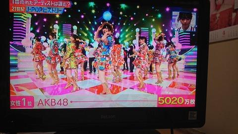 【AKB48】トータルセールス5000万枚突破で21世紀最強売り上げwww