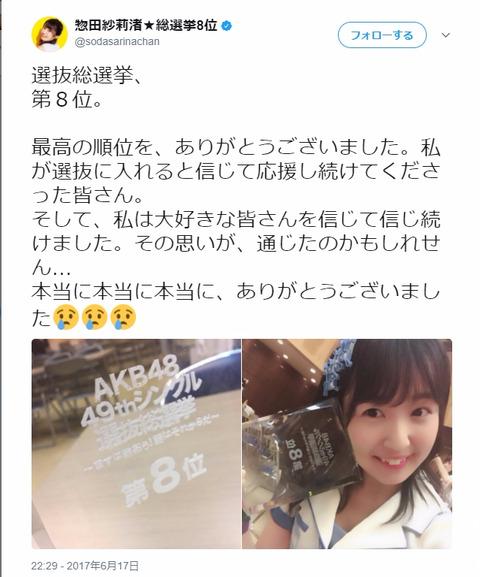 【悲報】総選挙8位のSKE48惣田紗莉渚、選挙後に入った個人仕事がラジオしかないらしい