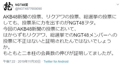 【狂気】NGTヲタ「AKB新聞の投票でリクアワ、総選挙でのNGT48メンバーへの投票に不正はないと証明された」