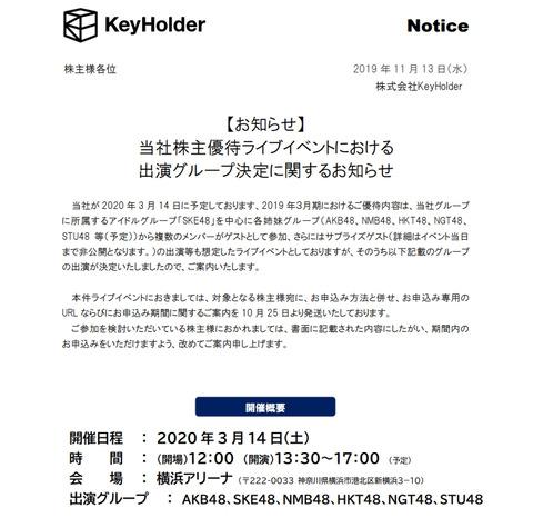 【SKE48】KeyHolder株主優待ライブイベントに全グループが動員されるのが確定・・・