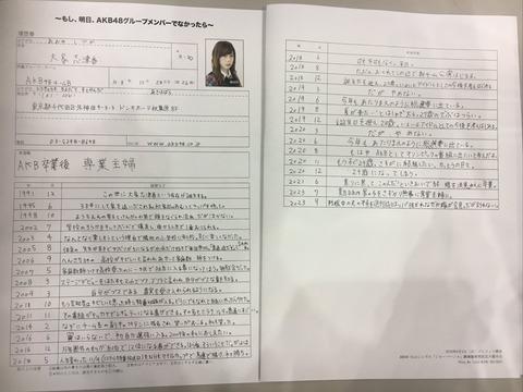 【AKB48】大家のもし、「明日メンバーじゃなかったら」履歴書がスゴイ!【大家志津香】