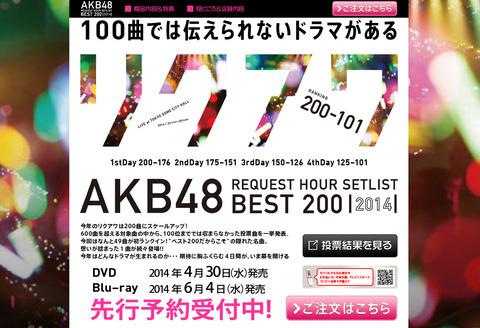 【朗報】「AKB48リクエストアワーセットリストベスト200 2014」
