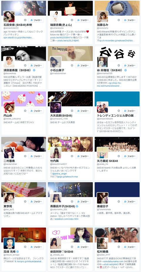 【SKE48】最新Twitterフォロワー状況なう