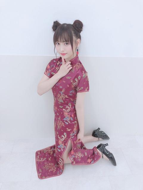 【NMB48】チャイナドレスから白い生足を見せる妖艶セクシー梅山恋和ちゃん!