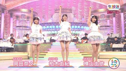 【うたコン】AKB48生歌選抜はメイン柏木由紀、コーラス横山由依岡田奈々