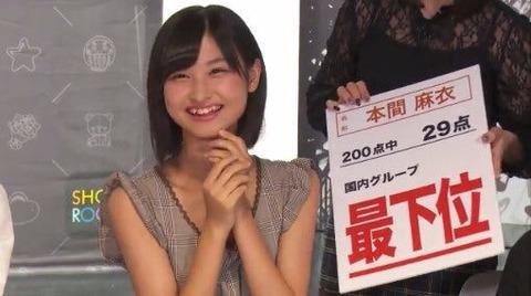 【悲報】AKB48グループセンター試験、最下位はやっぱり本間麻衣ちゃん・・・