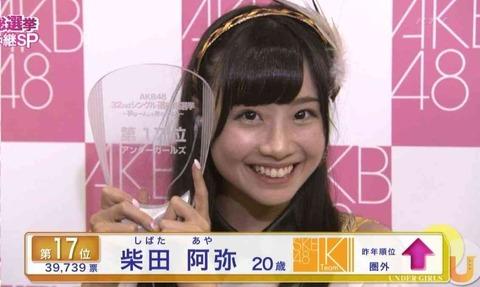 【AKB48G】干されは柴田阿弥のように総選挙で上位にランクインする以外逆転できない