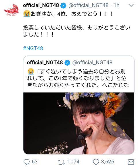 【朗報】NGT48公式Twitter、中井りかにだけ「おめでとう」を言わないwww