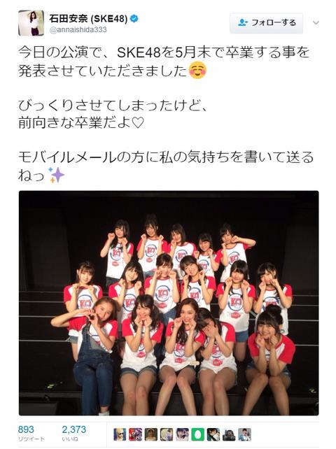 【SKE48】石田安奈の前向きな卒業ってなんやねん