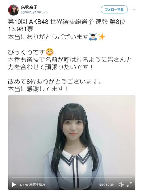 【AKB48総選挙】指原票が矢吹奈子に流れてた?