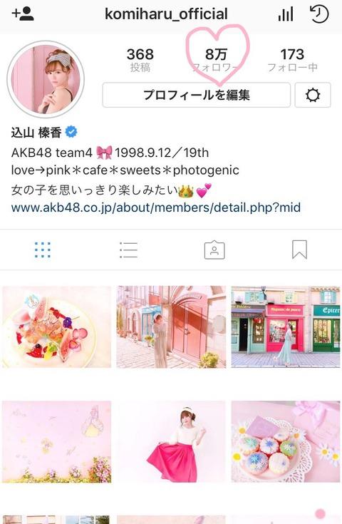 【AKB48】こみはるのInstagramのフォロワー数が8万人突破!【込山榛香】