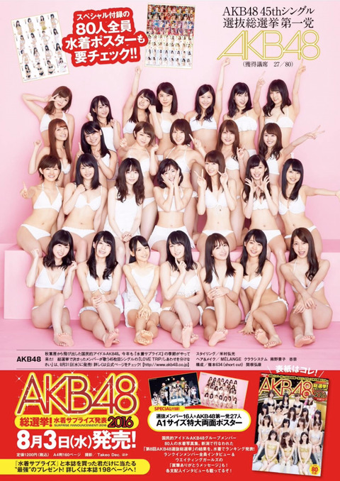 【AKB48総選挙】第一党を獲得したAKB48のグラビアキタ━━━(゚∀゚)━━━!!