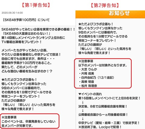 【SKE48】イベント参加ルールをねじ曲げるメンバーがいた為対象外の名前を明記するように変更
