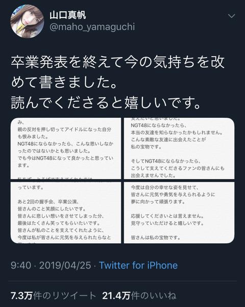 【NGT48】山口真帆のTwitter、いいねが21万、リツイートも73000を超える!