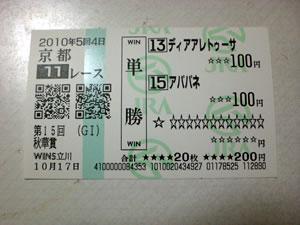 2010秋華賞・馬券3・アパパネ単勝