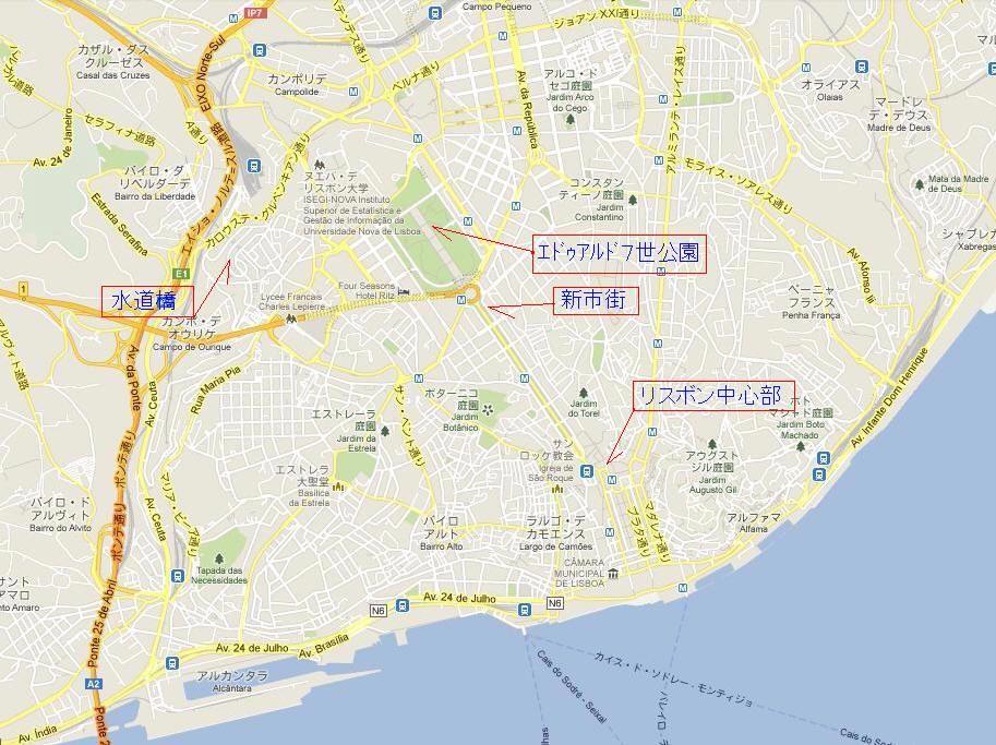 リスボン地図大ー2 地名・線